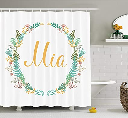 Mia Shower Curtain Frame Of Flowers And Ferns Pattern With Handwriting Calligraphy Design Cursive Alphabet