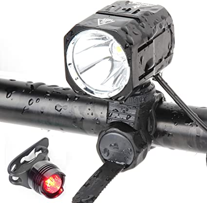 Bike Light USB Rechargeable LED Bicycle Lamp Set Waterproof Handheld Flashlight