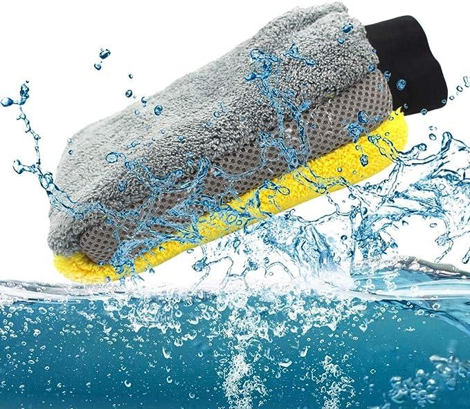 Vislone Auto Waschhandschuh Aus Mikrofaser Multifunktional Anti Kratz Waschhandschuh 2 Packungen Auto
