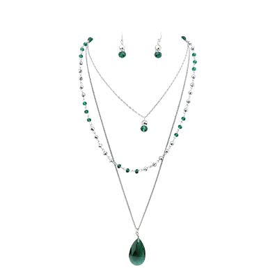 2716ee8d642f7 BOCAR 3 Layer Jewelry Set Long Chain Pendant Bead Necklace Earring for Women