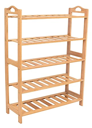 BirdRock Home Free Standing Bamboo Shoe Rack With Handles | 5 Tier | Wood |  Closets
