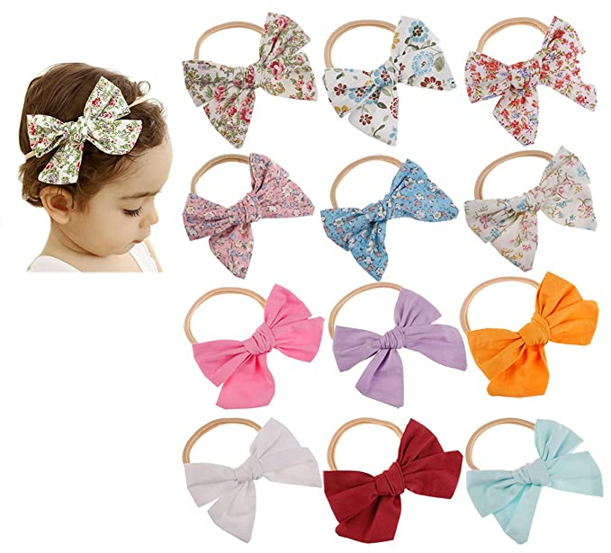 7961e6d35e243 DANMY Baby Girl Super Stretchy Headband Big Lace Petals Flower Baby Hair  Band Newborn Hair Accessories