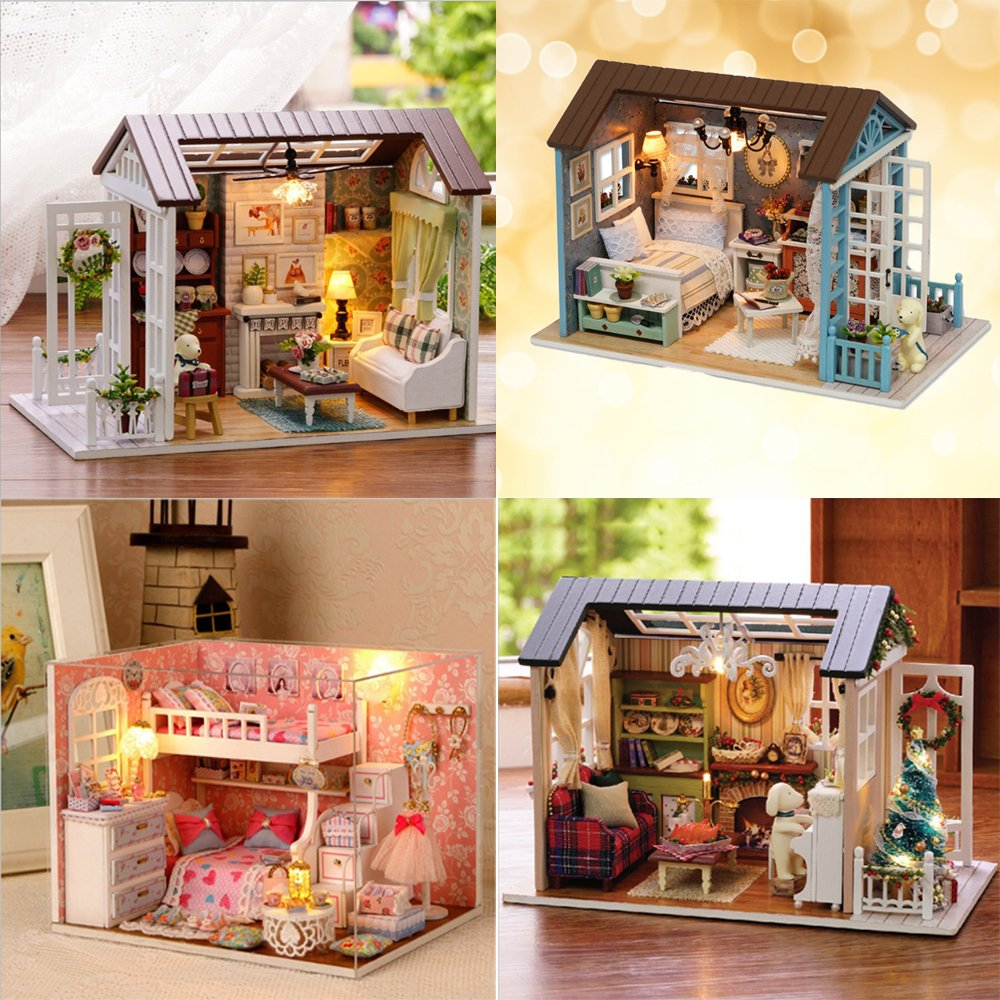 DIY Assemble Wooden House Furniture Handcraft Miniature Room Kit Holiday Time