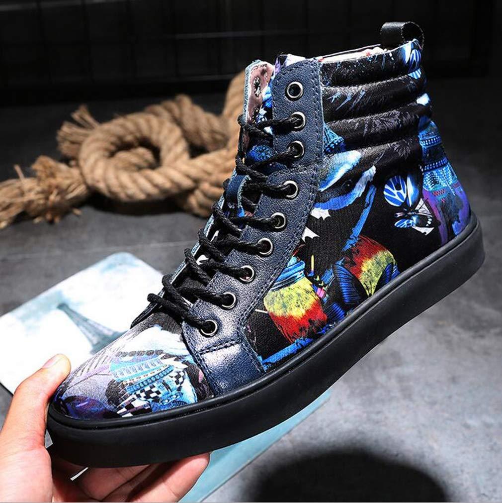 Herren Canvas Schuhe, Frühjahr Herbst Neue Flache Flache Flache Freizeitschuhe, Hip Hop Skateboard Schuhe, Student Casual Müßiggänger, Wanderschuhe (Farbe   Blau, Größe   42) 4436b2