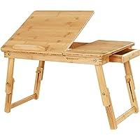 SONGMICS Table de lit Pliable en Bambou Hauteur réglable pour PC Portable 54,5 x 75 x 29 cm LLD01N
