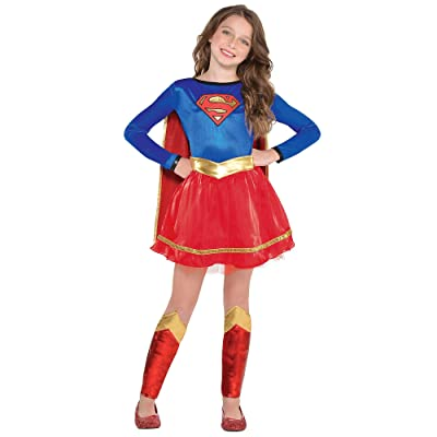 Costumes USA Superman Supergirl Costume for Girls, Includes a Dress, an Attached Belt, and a Red Cape: Clothing