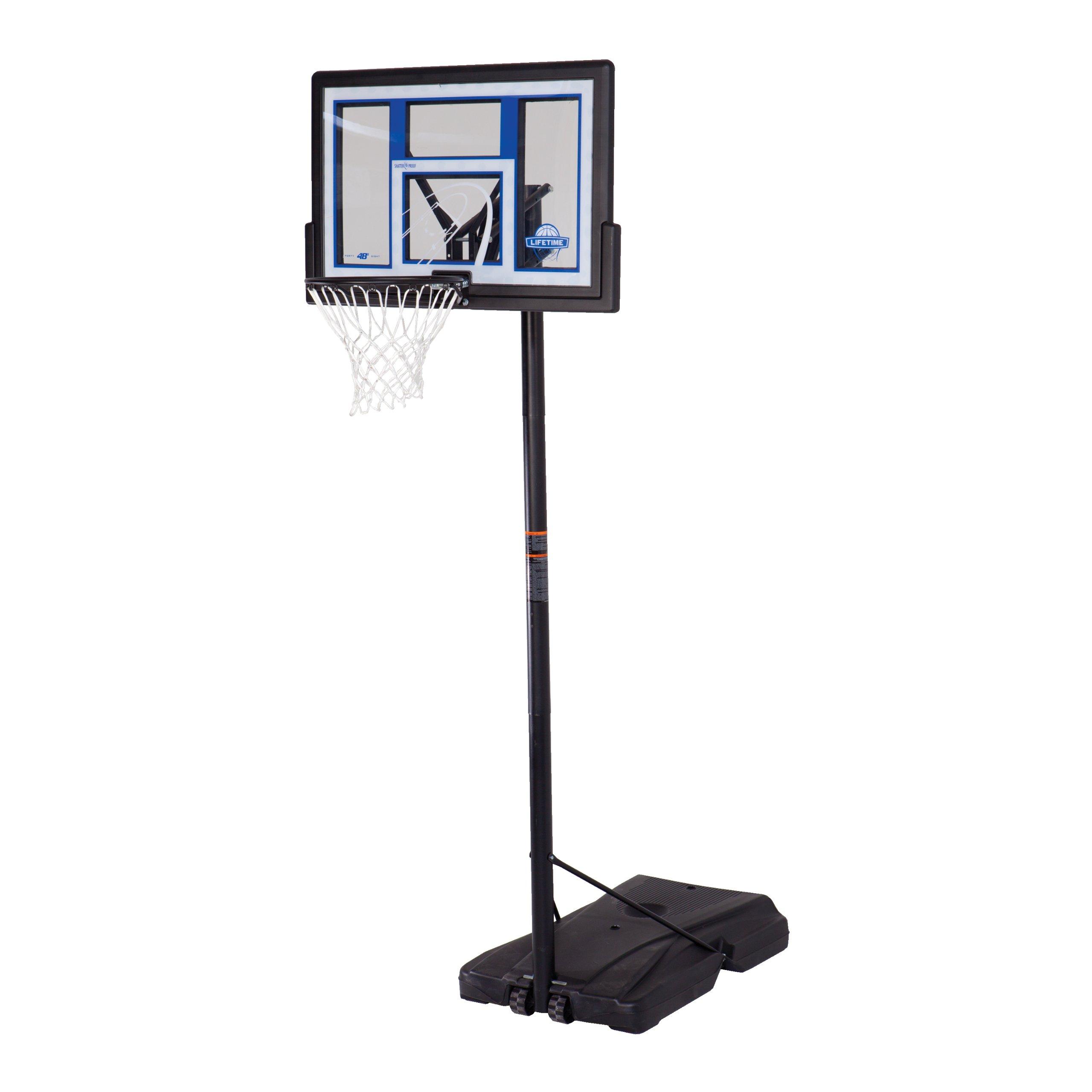 Lifetime 1479 Courtside Height Adjustable Portable Basketball System, 48 Inch Shatterproof Backboard