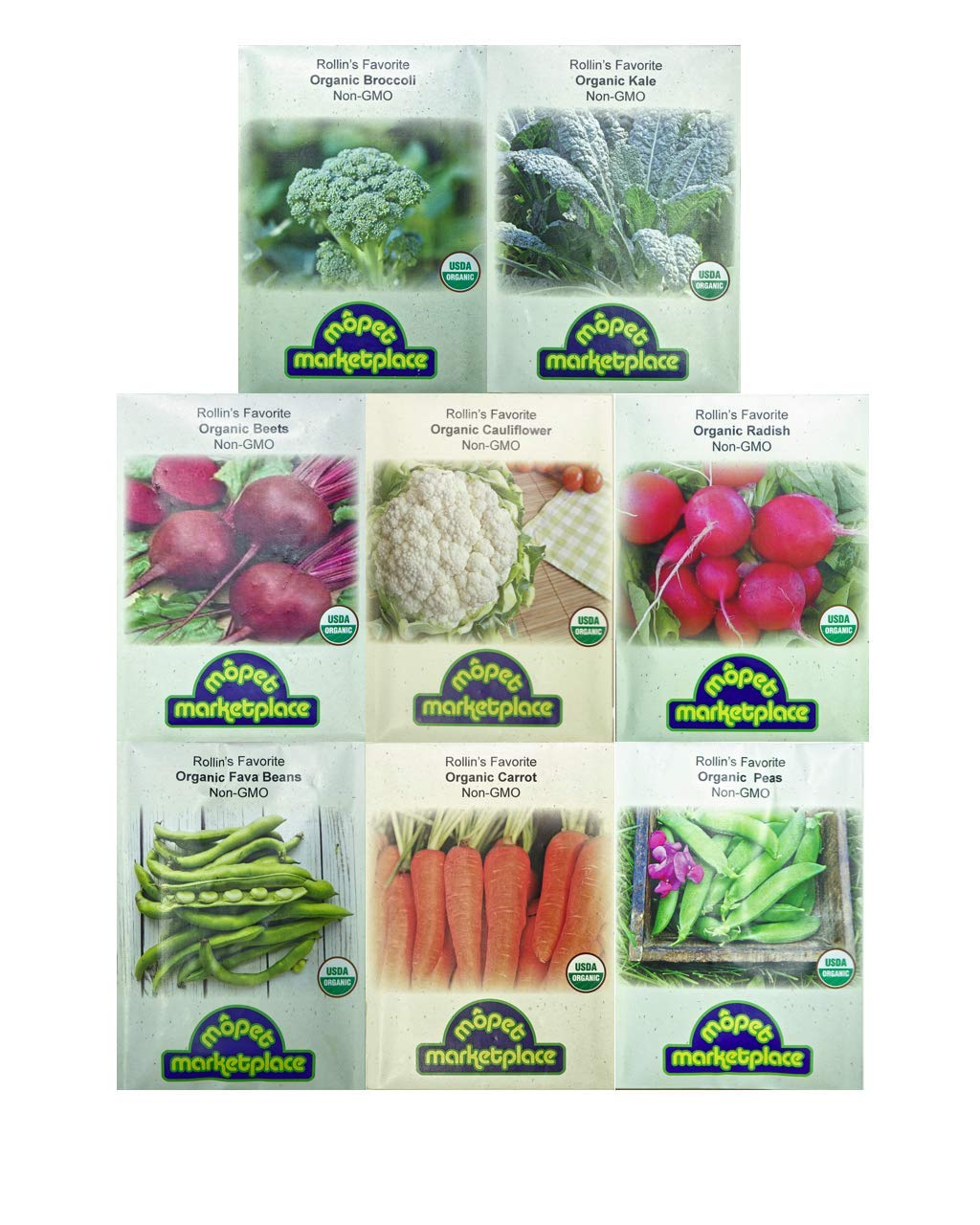Premium Winter Vegetable Seeds Collection.Certified Organic Non-GMO Heirloom Seeds USDA Lab Tested. Broccoli, Beet, Carrot, Cauliflower, Fava Bean, Kale, Pea, Radish. Gardener & Chef Favorites! by Mopet Marketplace