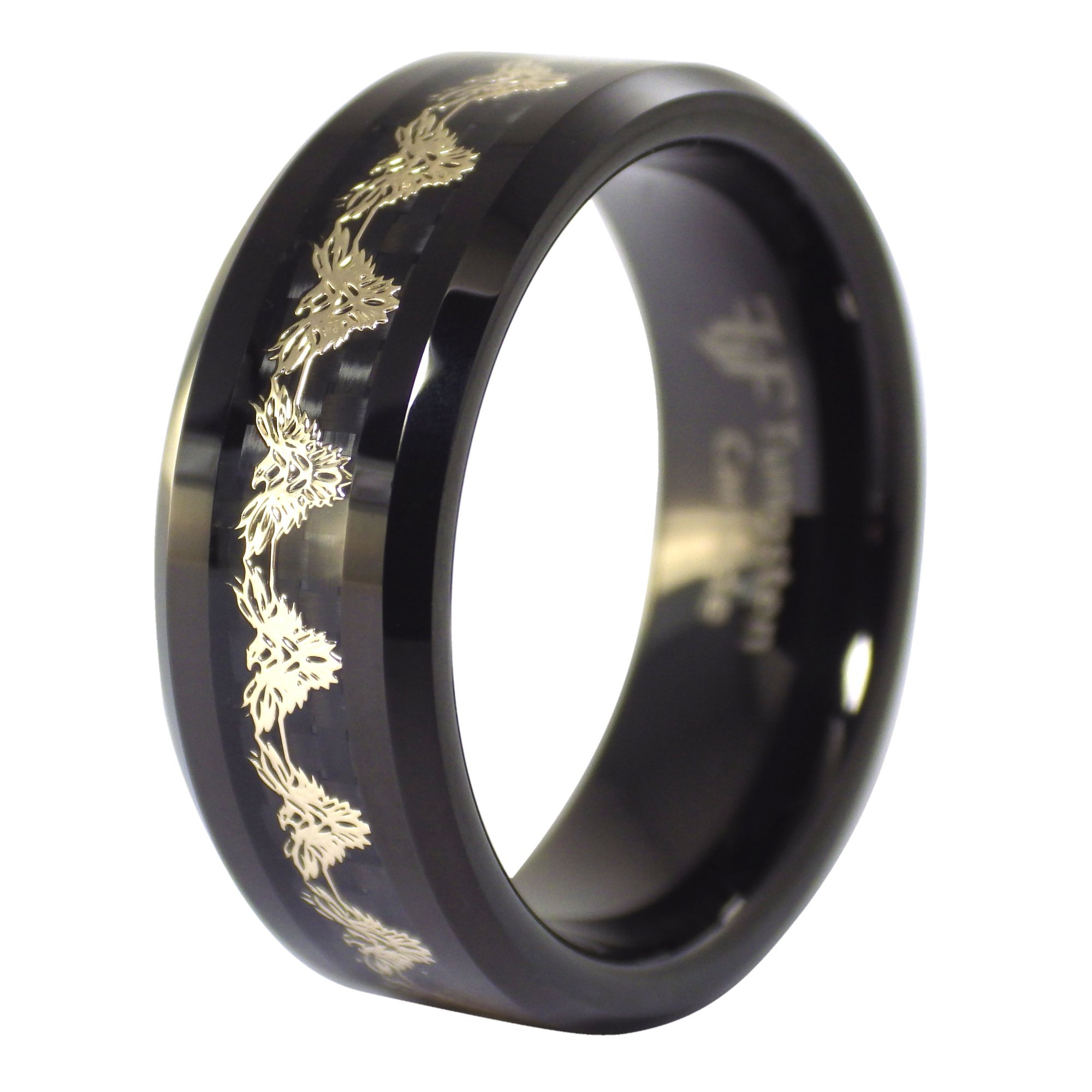 Fantasy Forge Jewelry Black Phoenix Gold Firebird Tungsten Ring 8mm Size 6.5 by Fantasy Forge Jewelry (Image #3)