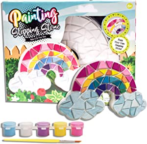Eduzoo Paint Your Own Stepping Stone - Art and Craft Painting Kit, DIY Garden Stone, Mosaic Rainbow Stepping Stone, Rainbow