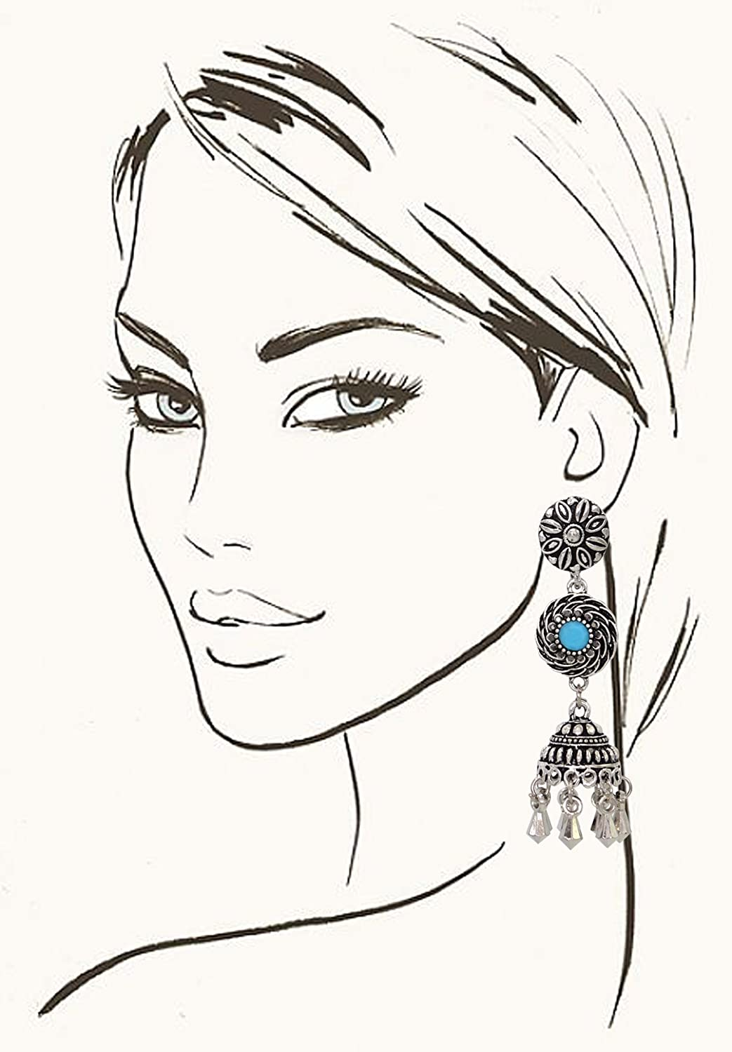 Sansar India Oxidized Stud Long Jhumka Indian Earrings Jewelry for Girls and Women 1245