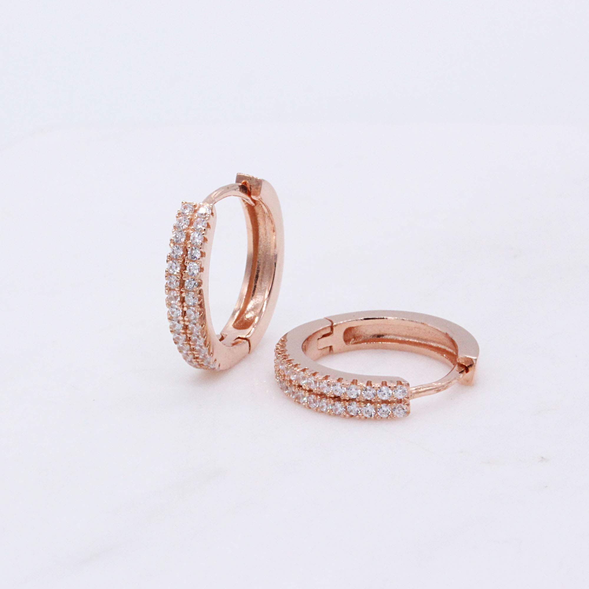 Spoil Cupid Rose Gold-Plated Sterling Silver Double Row Cubic Zirconia Huggie Hoop Earrings