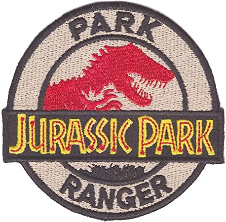 Jurassic Park Patch Dinosaurs Eat Man Women Inherits the Earth Iron on Patch VELCRO\u00ae Brand Fastener available