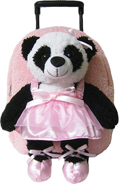 Kreative Kids Pink Ballet Panda Rolling Backpack w/Removable Stuffie & Wheels