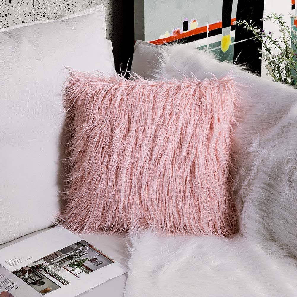 OJIA Deluxe Home Decorative Super Soft Plush Mongolian Faux Fur Throw Pillow Cover Cushion Case (24 x 24 Inch, Blush Pink)