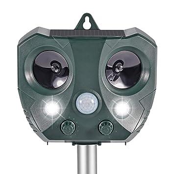 eeieer Ahuyentador de Gatos Solar por ultrasonidos Ahuyentador de animales con estaca Flash y detector de movimiento, impermeable repelente de animales ...
