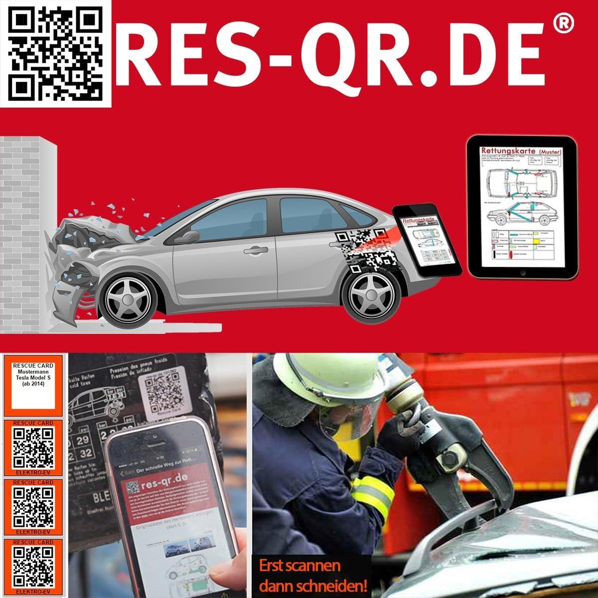 Ford Focus 4-T/ürer ab 09//2014 3 Etiketten plus Hinweisplakette QR-Etiketten-Nachr/üst-Satz f/ür Zugang zur digitalen Rettungskarte