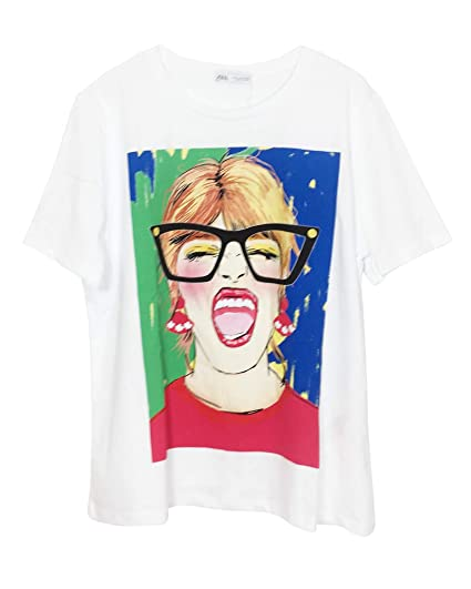 2aa6a483de7fa Zara Femme T-Shirt with Front Print 5410/160: Amazon.fr: Vêtements ...