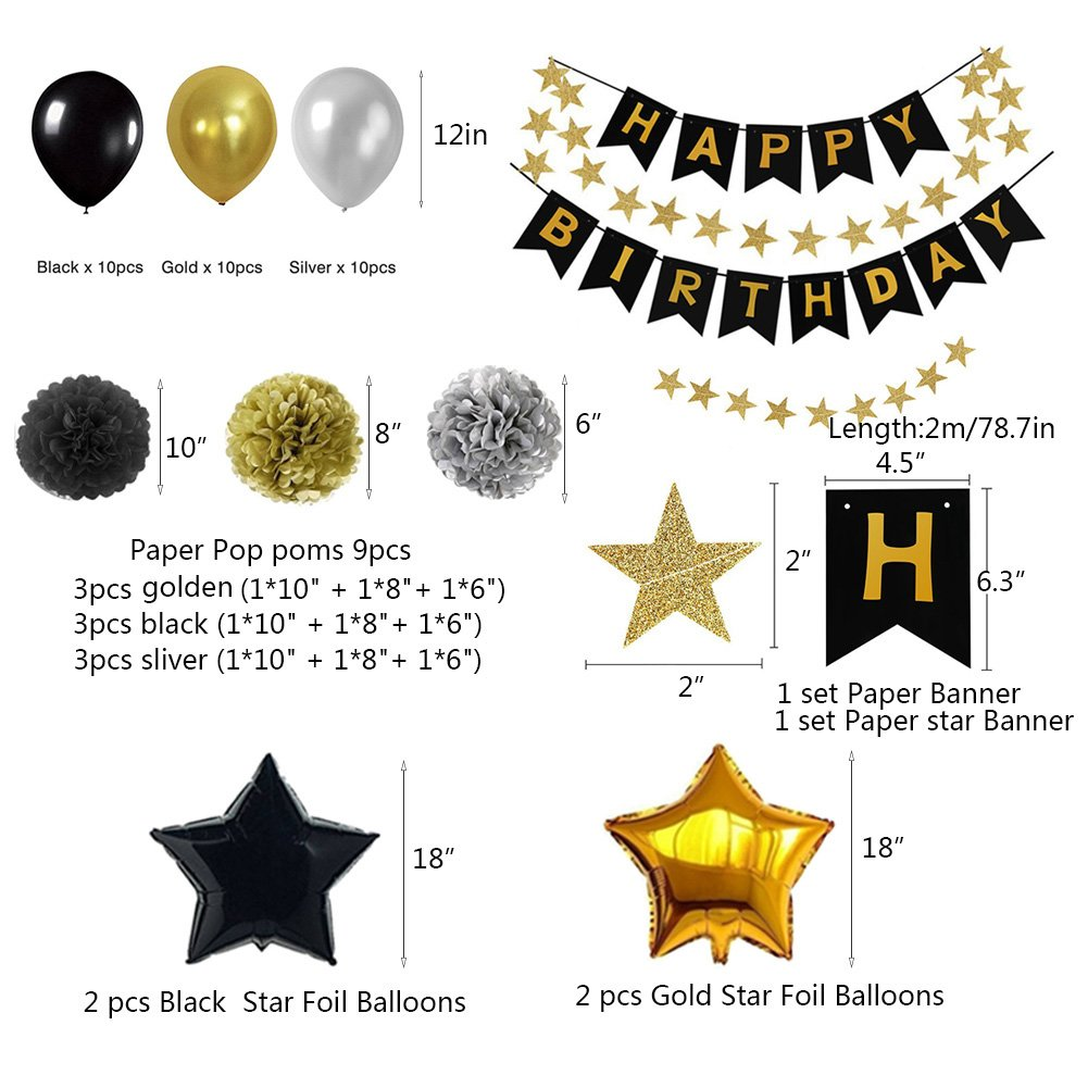 Weimi Black And Gold 18th Birthday Decorations For Men Inflating