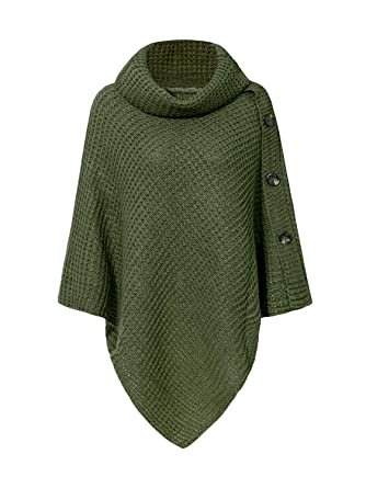28e8fd6ba56b Simplee Apparel Women s Chic Turtleneck Knitted Poncho Pullovers Sweater  (One Size