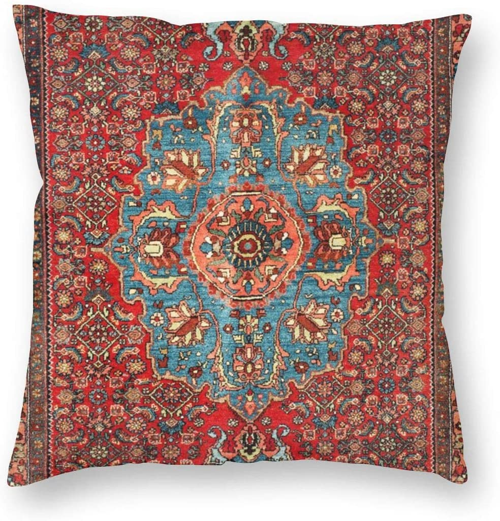 Emliyma Bidjar Antique Kurdish North West Persian Rug Throw Pillow Case Sofa Cushion Cover Home Decor 18 X 18 inches