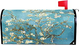 """Wamika Van Gogh Bloom Apricot Flowers Mailbox Cover Magnetic Oversized,Spring Floral Tree Blue Oil Letter Post Box Cover Wrap Decoration Welcome Home Garden Outdoor 25.5"""" L X 21"""" W"""