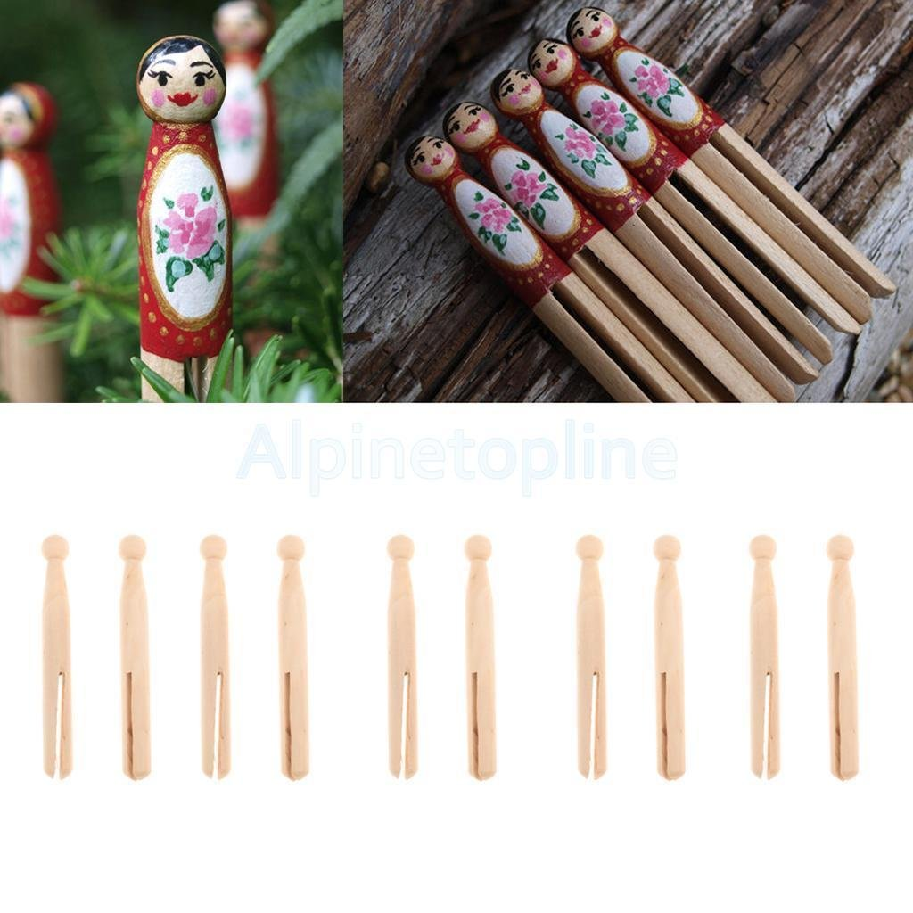 Amazon Com 10 Natural Wooden Dolly Pegs Wood Clothespin Doll Party