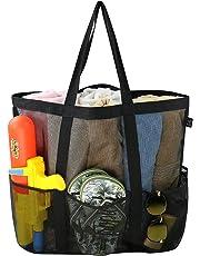 Large Mesh Beach Tote Bag, Carabiner, Drawstring Bag with 6 Pockets, Sand Toys Storage Bag, Folding Soft Shopping Shoulder Bag, Grocery Storage Bag,Good Family Beach Holiday Organizer Net Bag, Black