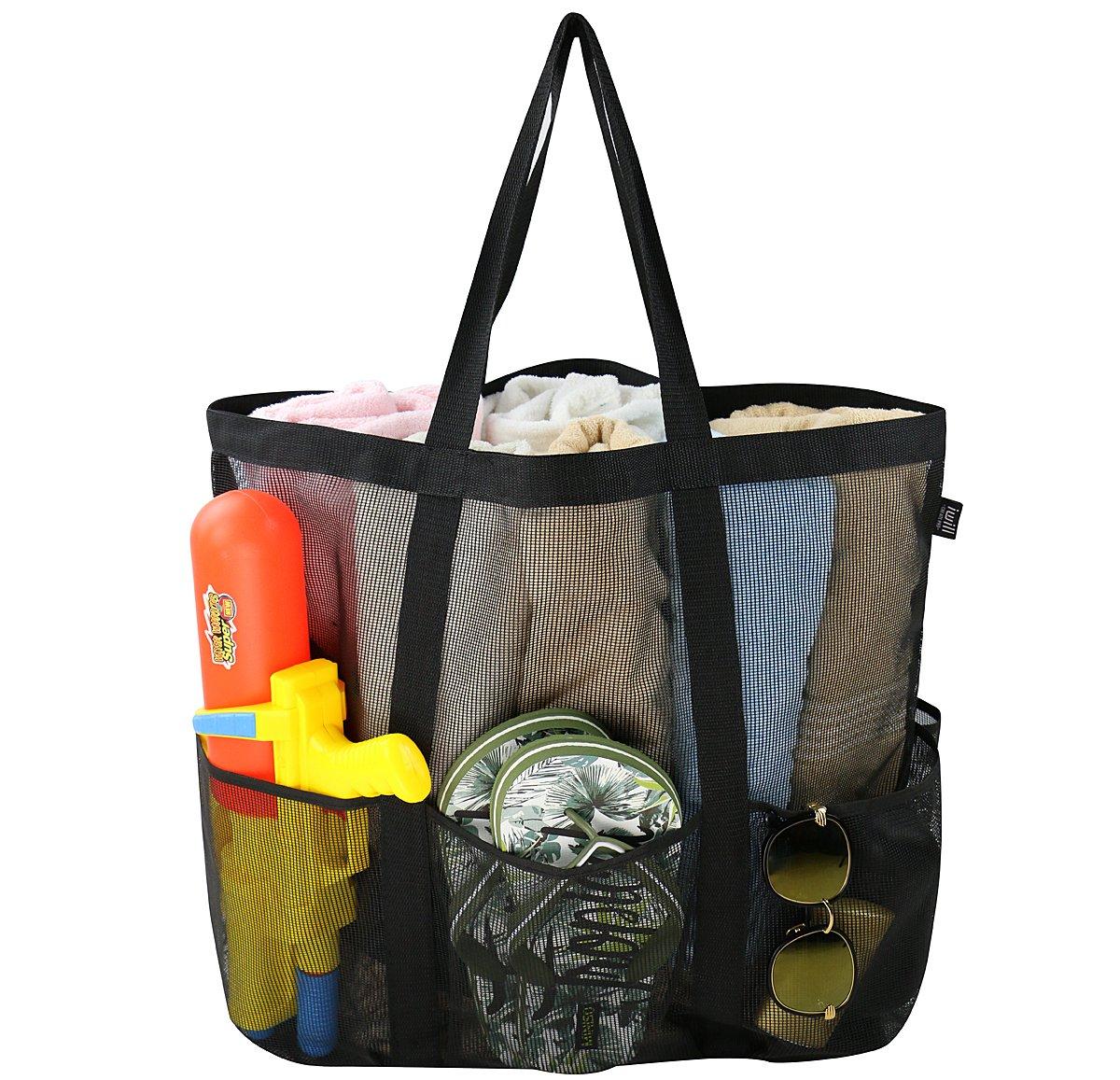 bolsa de almacenamiento de juguetes de arena mosquet/ón bo bolsa plegable plegable de compras Bolsa grande de malla de playa bolsa de cord/ón con 6 bolsillos bolsa de almacenamiento de comestibles