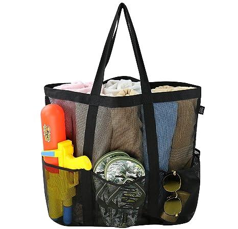 Bolsa grande de malla de playa, mosquetón, bolsa de cordón con 6 bolsillos, bolsa de almacenamiento de juguetes de arena, bolsa plegable plegable de ...