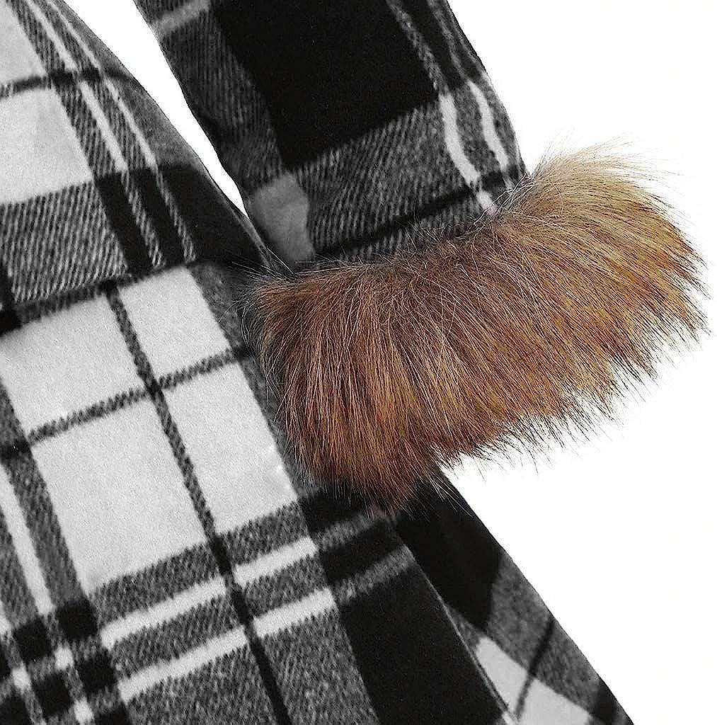 Moudozsdi Womens Vintage Plaid Long Sleeve Faux Fur Hood Longline Coat Outerwear Plus Size