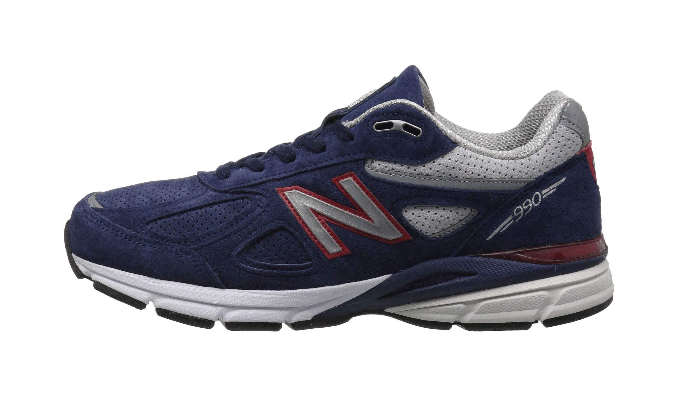 New Balance Men's 990v4 Running Shoe Blue/Pigment Red 10 D US