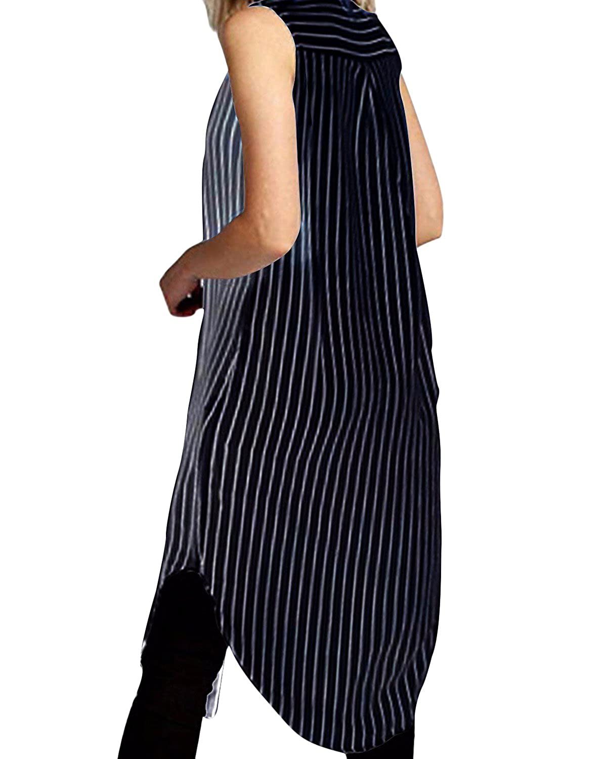 39c977020030 StyleDome Women Chiffon Sheer Vertical Stripe Lapel Sleeveless Button Down  Long Vest Tops Shirt Dress Blue US 10: Amazon.in: Clothing & Accessories
