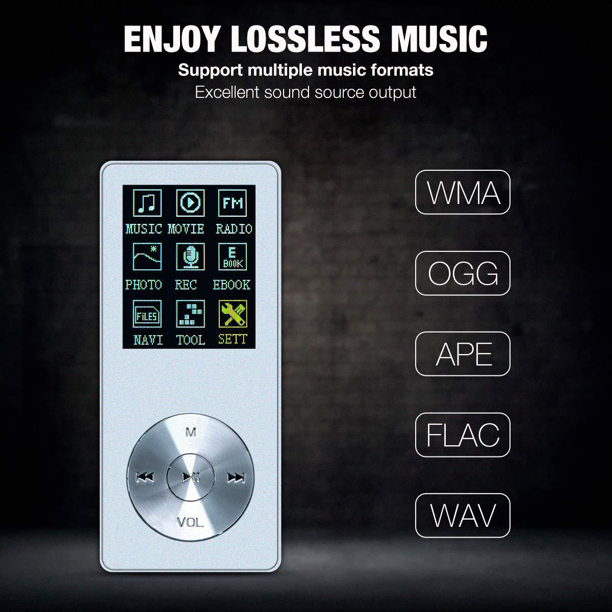 Grabaci/ón de Voz Soporta TF hasta 64GB E-Book Reproductor MP3 con Auriculares,Lychee 8GB Reproductor de M/úsica Metalico con Altavoz Interna Radio FM