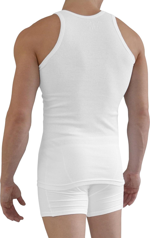 normani 5 x Herren-Unterhemd Tanktop Classic wei/ß Muskel Shirt Tr/ägershirt aus 100/% gek/ämmter Baumwolle
