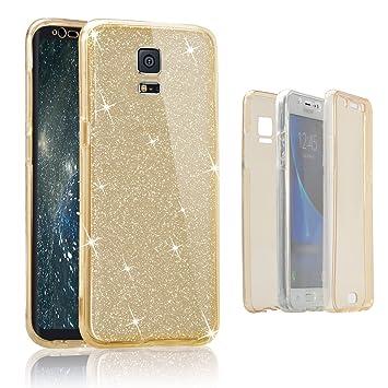 Funda tapa trasera para Samsung Galaxy S5, Vandot Funda 360 Doble Delantera + Trasera Transparente Silicona Gel Integral para Galaxy S5, Two Cristal ...