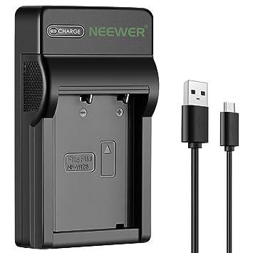 Neewer Micro USB Cargador de Batería para Fujifilm NP-W126 Batería,Fuji FinePix HS30EXR,HS33EXR,HS35EXR,HS50EXR,X-Pro2,X-Pro1,X100F,X-T20,X-T10,X-M1,X...