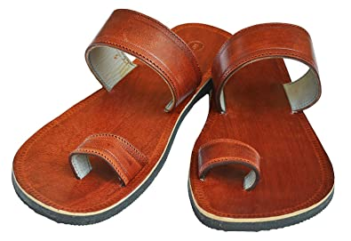 ec6abc3f418e4 Handcrafted Luxury Men Biblical Leather Sandals Jesus Sandals Brown Finger  Style Hippie Indian Sandals (US 10, Brown)