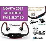 CUFFIE BLUETOOTH CUFFIA SPORT MP3 RADIO FM INTEGRATA WIRELESS USB CORSA MICRO SD