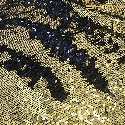 shinybeauty 1 Yard Oro de Negro Pez escalar lentejuelas ...