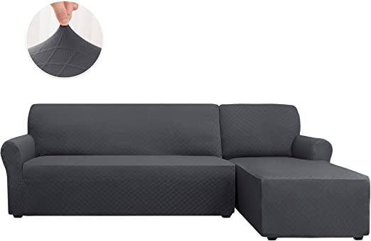 CHUN YI 2 Pieces L-Shaped Jacquard Polyester Stretch Fabric Sectional Sofa Slipcovers Right Chaise(2 Seats), Black