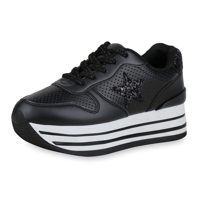 SCARPE VITA Damen Metallic Plateau Sneaker Lack Metallic Damen Schwarz Glitzer 675f38