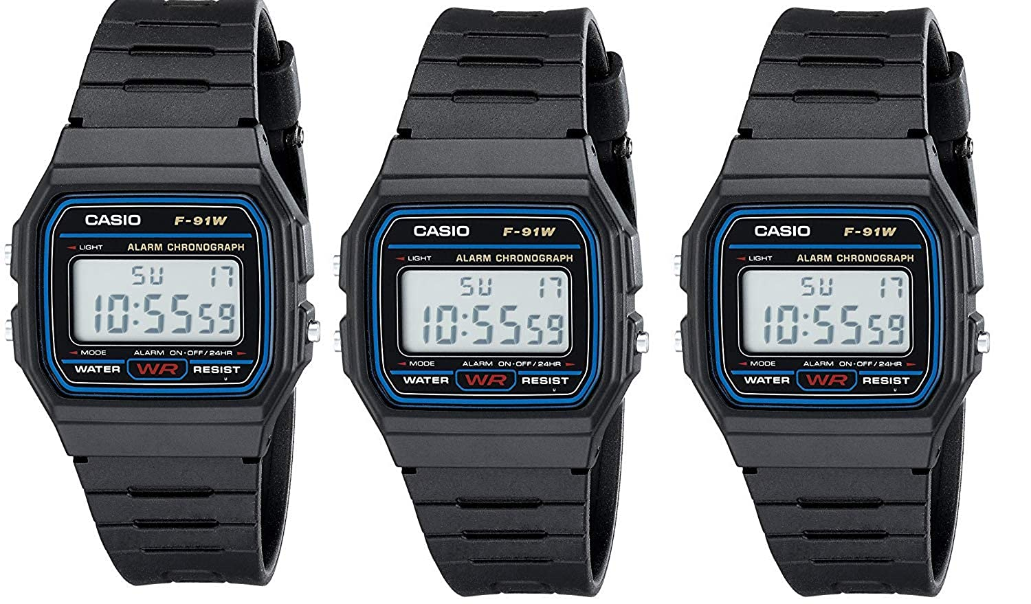 Casio #F91W-1 Mens Special Package Deal (3 Classic Chronograph Alarm Watches)
