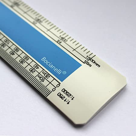 "Professional Metric 15cm 6"" Plastic Flat (Oval) Scale Ruler 1:1 1:5 1:20 1:50 1:100 1:200 1:1250 1:2500"