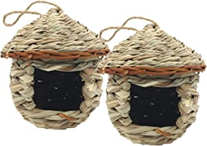 2 Pack Hummingbird House, Grass Hand Woven Bird Nest for Outdoor Hanging, Natural Fiber Bird Hut for Outside, Provides Shelter from Cold Weather Ideal for Finch Canary Chickadee