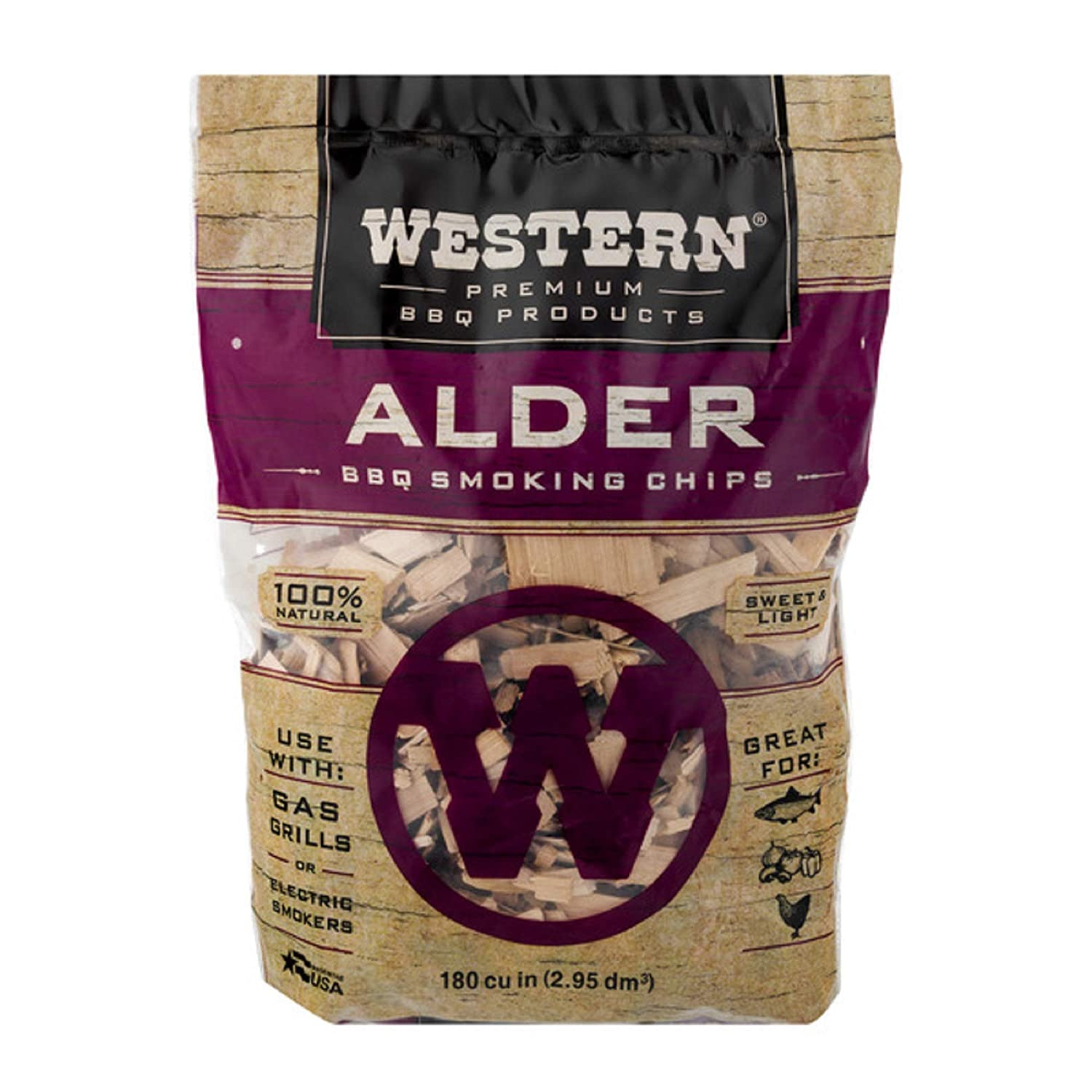 Western Premium BBQ Products Alder Smoking Chips, 180 cu inch