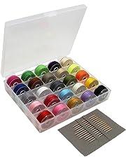 swebgo Bobbin Case Organizador con 25 bobinas de máquina de coser Claro y varios colores hilo