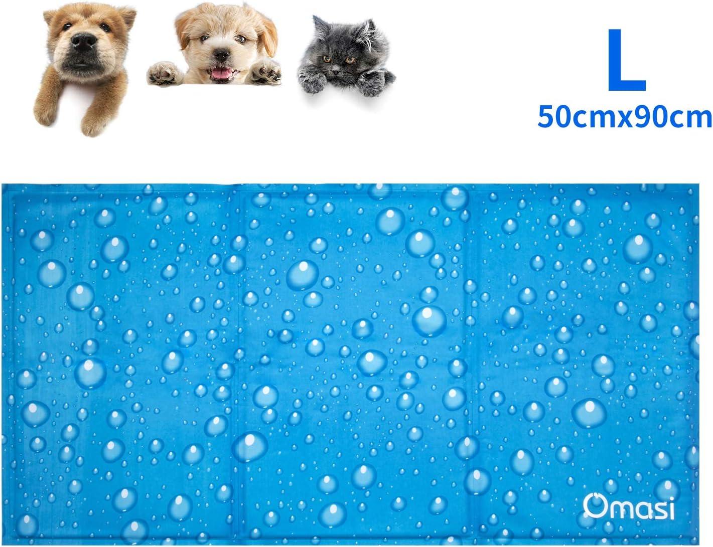 Omasi Alfombrilla de Refrigeración para Animales, Enfriamiento para Camas de Mascotas, No tóxico, Auto, para Perros y Gatos (50 x 90 CM)
