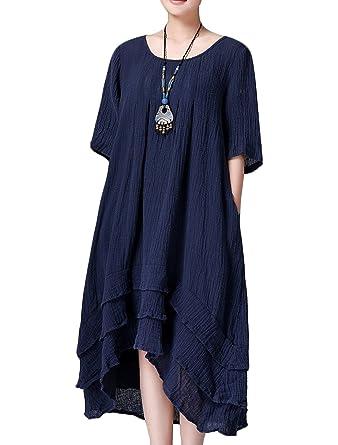 b65f16bd51 Women s linen dress long-sleeve dress midi dress traveling clothing (Small