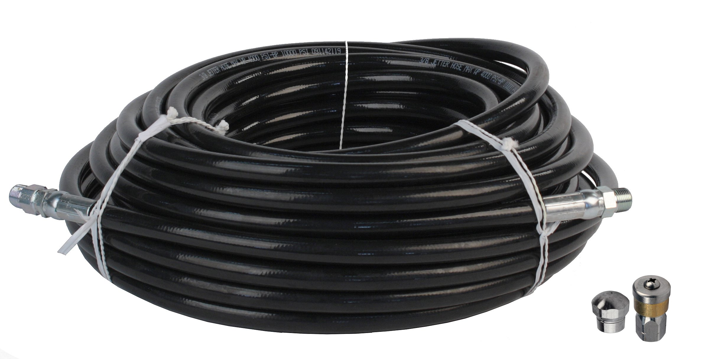 Schieffer 3/8'' x 100' 4000 PSI Thermoplastic Sewer Jetter Hose & MTM Hydro 8.0 Orifice Button Nose and Rotating Nozzles